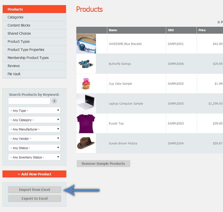 Products page showing the Import from Excel button