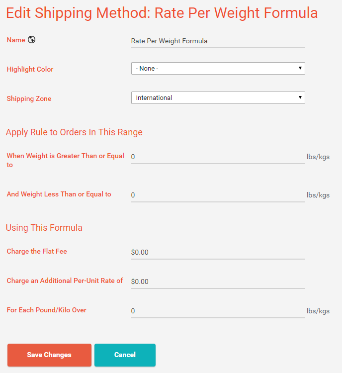 Shipping Method: Rate Per Weight Formula